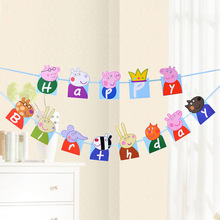 13pcs Pig little girl Bunting Banner Gold Letters Hanging Garlands Pastel Pink String Flags Baby Shower Party Decor