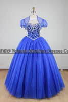 2016 Sweetheart Elegant Puffy Skirt Beaded Shiny Blue Quinceanera Dresses With Chic Jacket