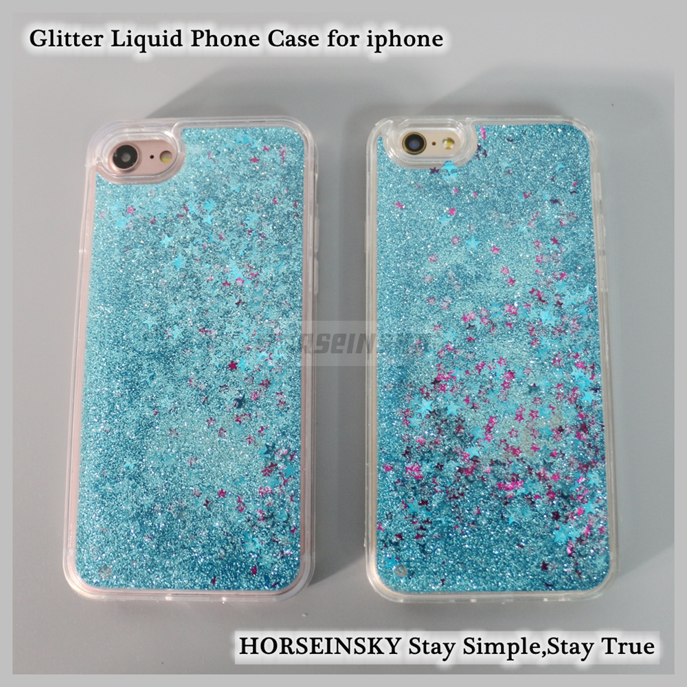 Shining Liquid Quicksand Case Transparent Liquid Glitter TPU Phone Case for iPhone 7