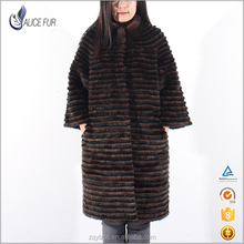 Hot Sale Luxury Natural black white stripes mink fur coat For Wholesale