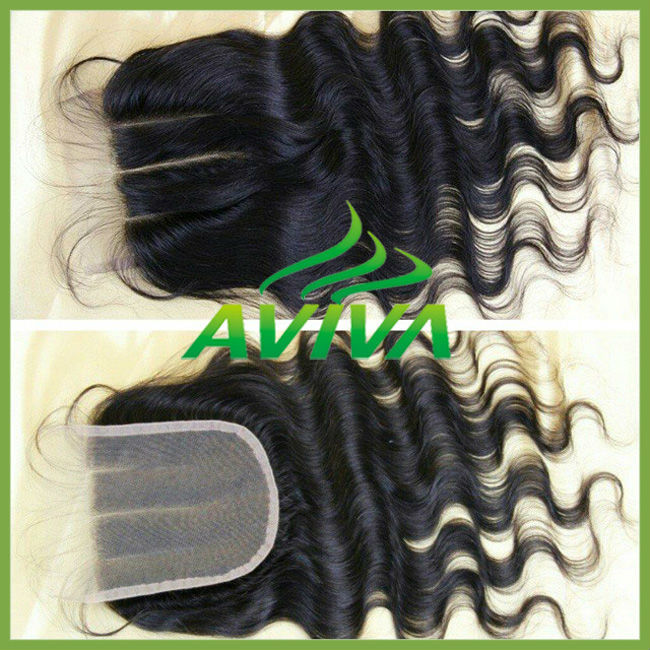 Fashion human hair brazilian virgin cheap lace closure three way part silk base 4x4 lace closure bleached knots baby hair