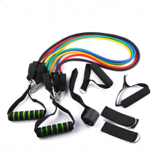 11 Pcs resistance band set home fitness latex tube strength training set with door anchor, handlees , ankle straps