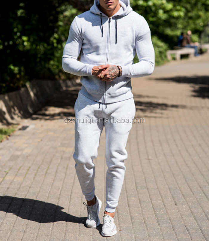 High quality own cotton fleece mens tracksuit /custom gym sport wear fitted tracksuit for men H-2417