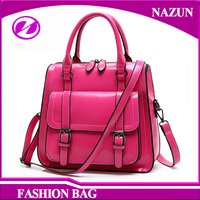Rose red NEW design Bags PU Leather Handbags Cheap Women Shopping Bags