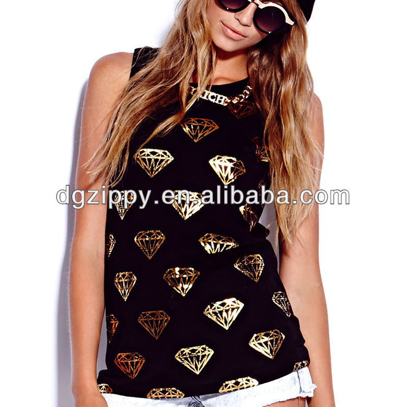 2013 Women New Design Basic Metallic Diamond Muscle Tee/shirt