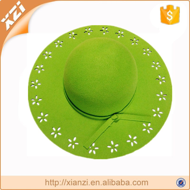 Fashion Lady Green Wide Brim 100% Polyester Floppy Hatexquisite hat
