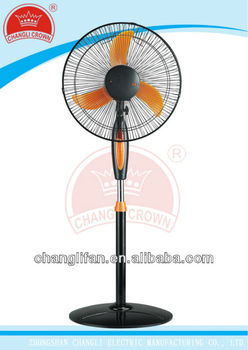 16inch black color stand fan with orange blade and light