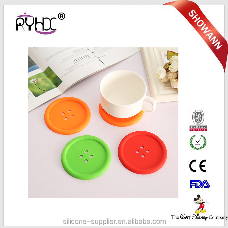 Custom Logo Durable Silicone Rubber Plate Coaster With Low MOQ