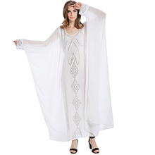 White chiffon maxi abaya dress