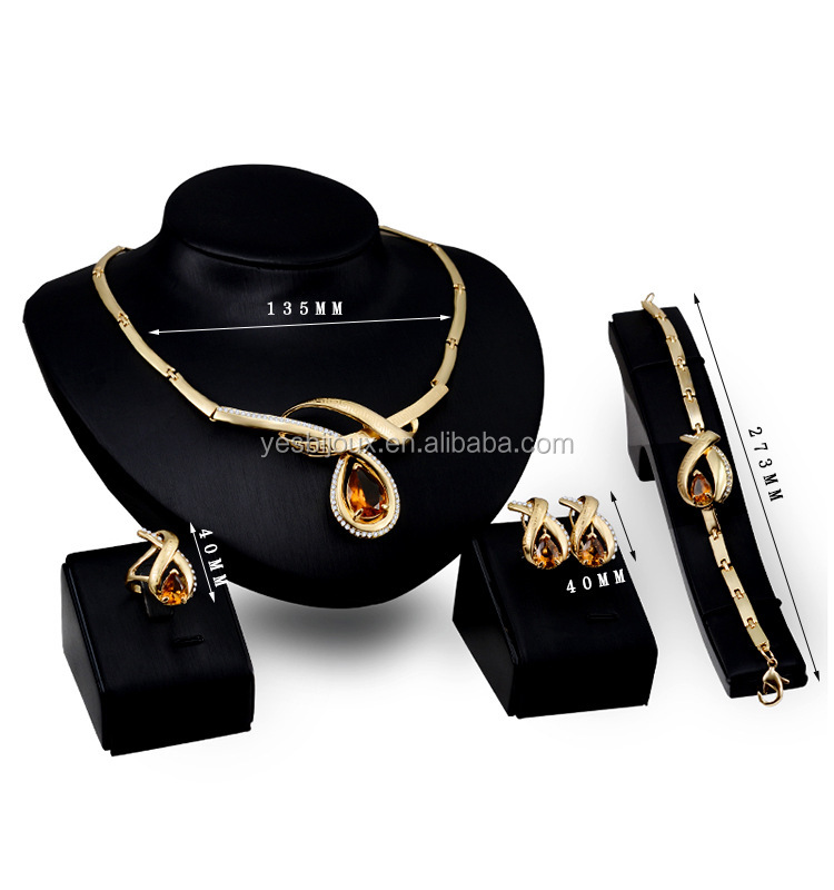 champagne luxury gold filled costume jewelry sets