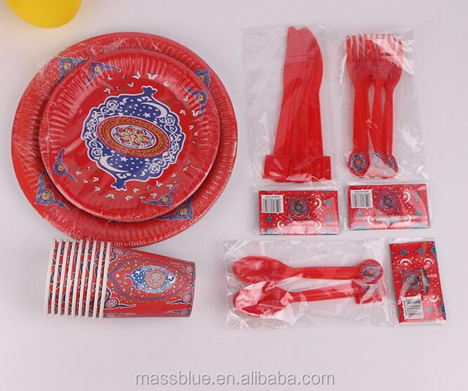 Five piece set of paper plate and paper cup plastic knife fork and spoon for red color