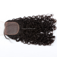 Jerry Curly Bohemian Hair Lace Closure , Virgin Brazilian Silk Base Closures with Baby Hair