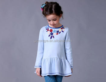 kids girl casual summer dress 2015 baby fancy one piece embroidery long sleeve autumn dress garment factory OEM supply