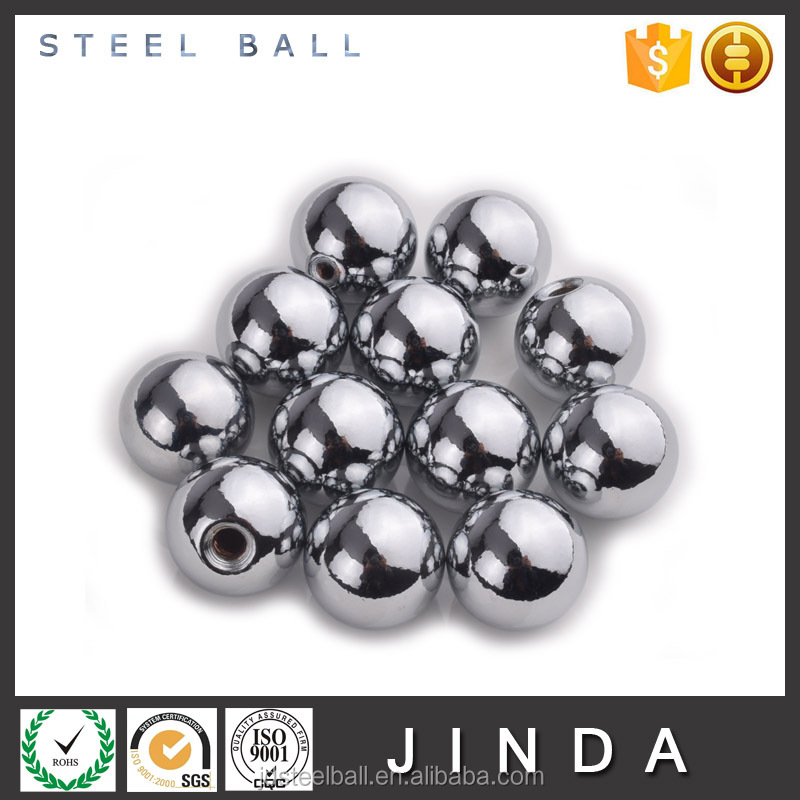 Chrome plated carbon drilled decoration solid steel ball with hole
