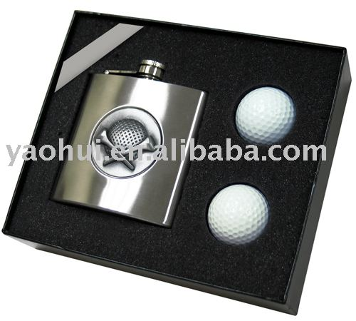 hip flask golf gift set
