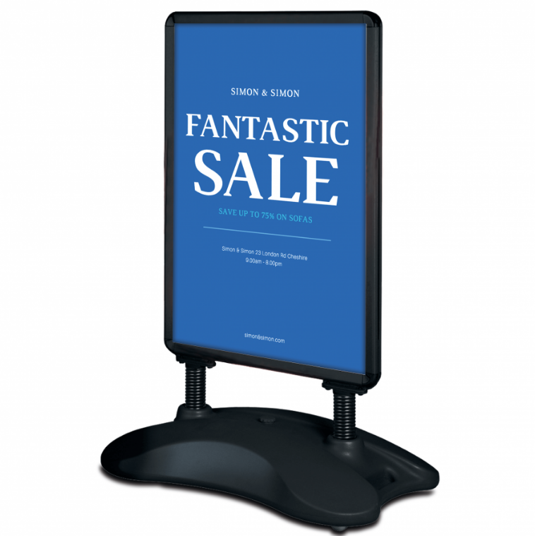 Aluminum snap frame <strong>stand</strong> black water base sidewalk sign <strong>poster</strong> <strong>stand</strong>