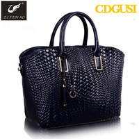 2016 newest design embossed classical black business women genuine leather handbag China wholesale bags