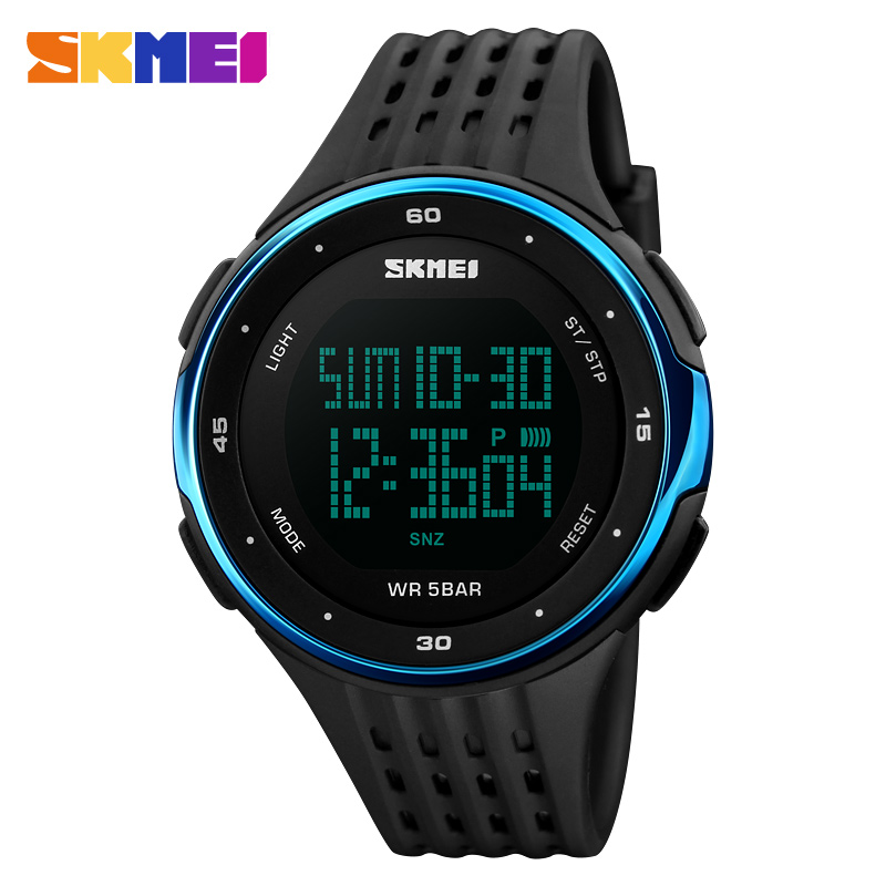Hot sale Skmei custom 50m waterproof double time digital sports wrist watch for men