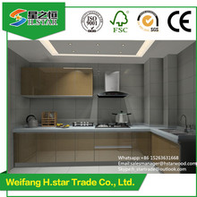 2017 Modern free handle high glossy PVC kitchen cabinets from manufacturer