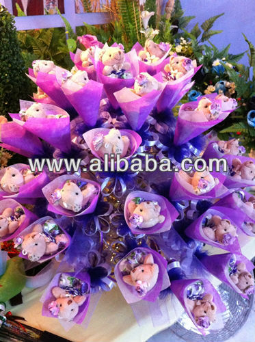 Purple Teddy Bear Bouquet Party Gifts 6cmx30cm