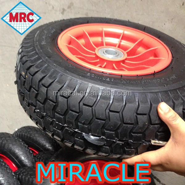 China 16inch lawn mower air wheel 6.50-8 with plastic rim
