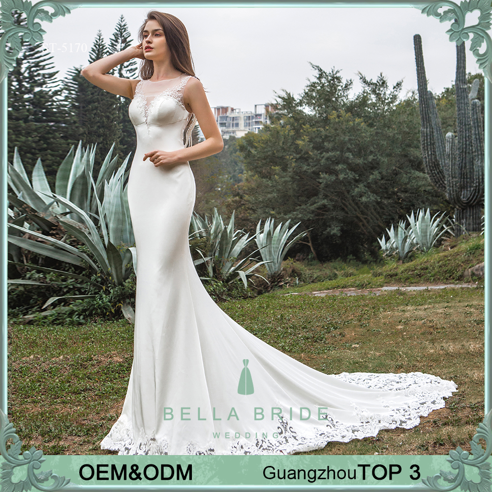 2017 latest design sleeveless satin wedding dress mermaid wedding dress bridal gowns