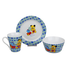 Eco Friendly Safety Cartoon Pattern Ceramic Procelain Kids Dinnerware Set Children Dinner Set