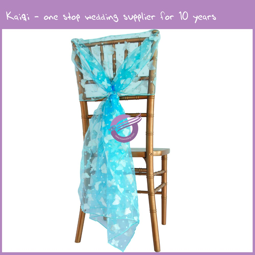 MY0003T 2016 cheap flower print turquoise butterfly floral wedding new organza chair sash