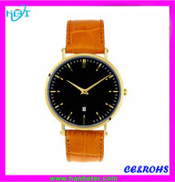 Aliexpress minimalist style japan movt stainless steel watch japan movement with leather strap with 5 atm water resistant