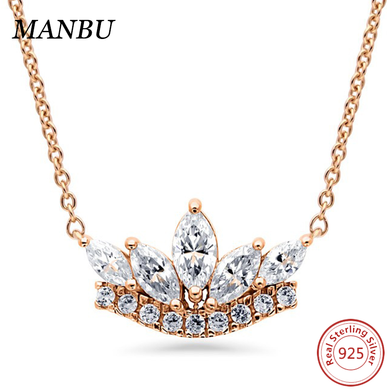 925 sterling silver Rose Gold Flashed Sterling Silver CZ Art Deco Crown Pendant Necklace N1292