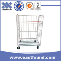 Warehouse storage folding steel mesh rolling cage cart