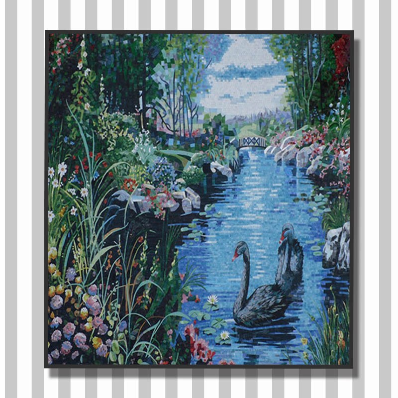 Vh european village theme bedroom wall tile hanging for Mural glass painting