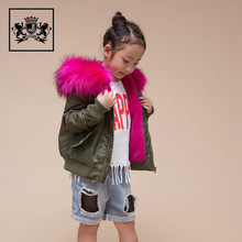 Vintage Raccoon Fur Trim Hooded Pilot Bulk Wholesale Kids Clothing Custom Bomber Jacket