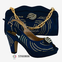 SY60806-1 FREE SHIPPING italian shoes and bag set/deep blue party high heel shoes and cluth bag matching