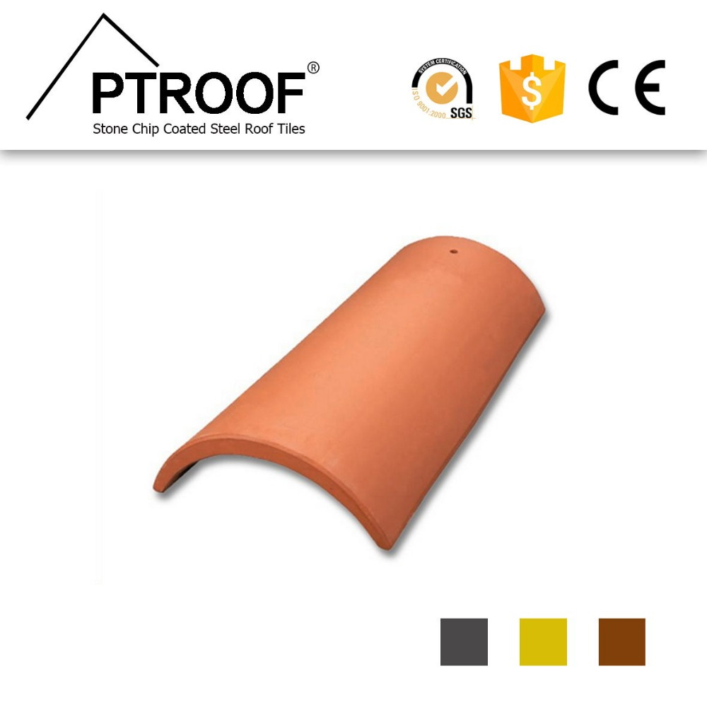 PT-411 Terracotta chainese half round clay /ceramic roof tile price