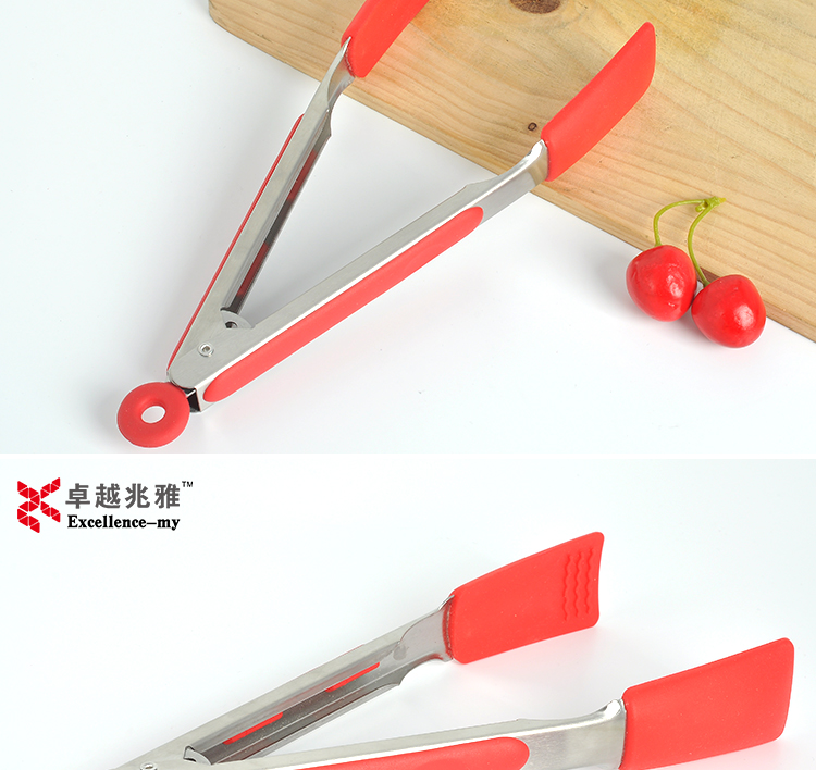 9 inch 2017 hot sale 129 Lifting silicone mini tongs For Fruit Grilling
