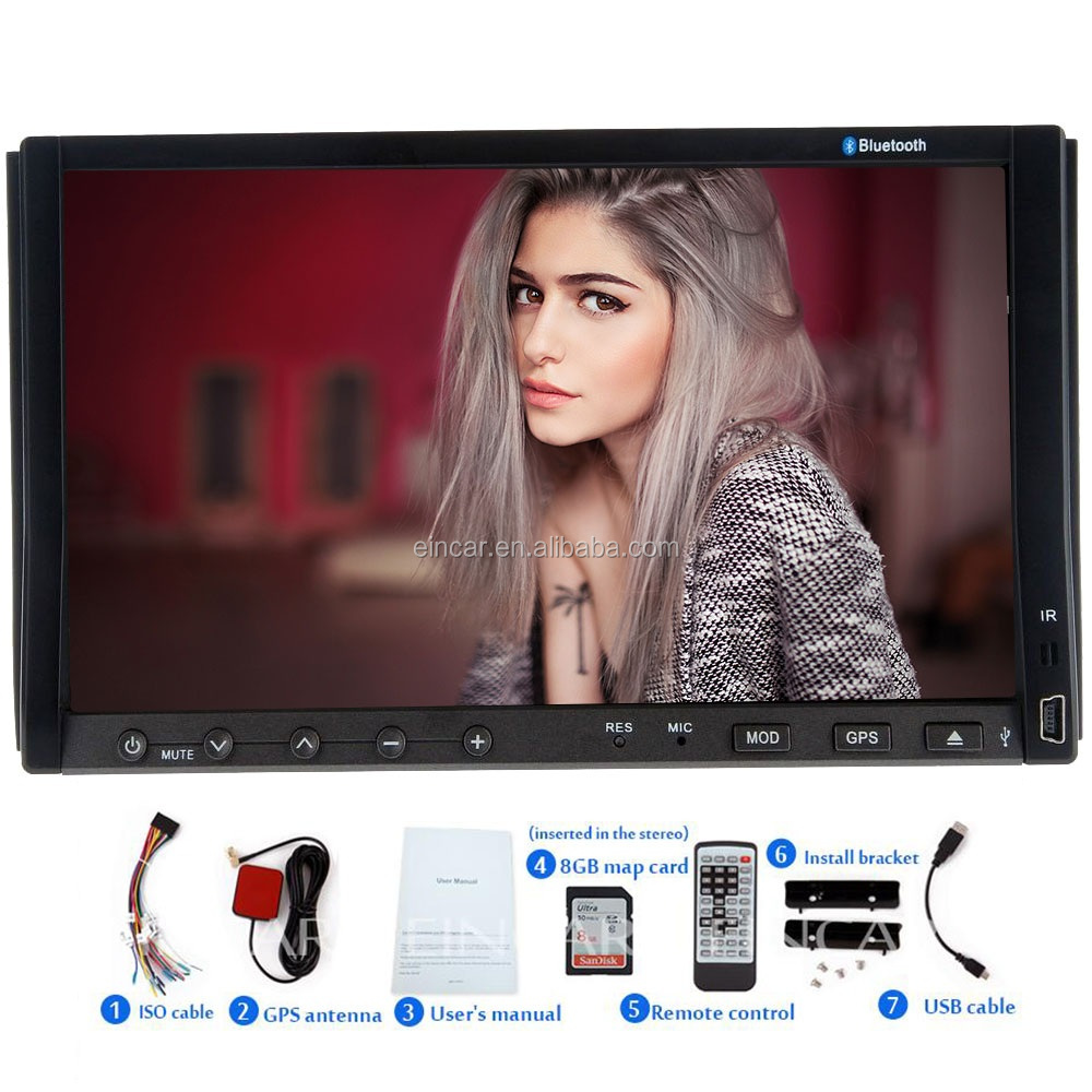 Wince 8.0 UI 7 inch Slidingtouch Bluetooth Car DVD Player GPS Navigation In Dash FM AM Autoradio USB/SD Ipod 8GB Map Card TV SWC