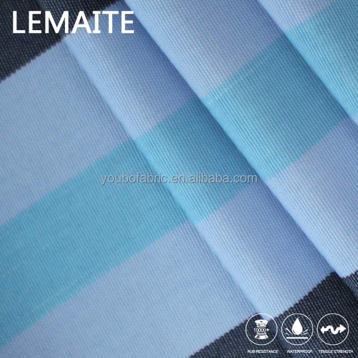 Blue Stripe Poly Fabric for Awning PA Coat 600 Denier Polyester Fabric