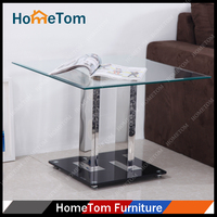 Clear Tempered Glass Stainless Steel Leg Exotic Coffee Table