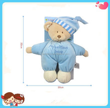 Lovely design pink blue Soft nursing plush teddy bear sleeping comforter toy