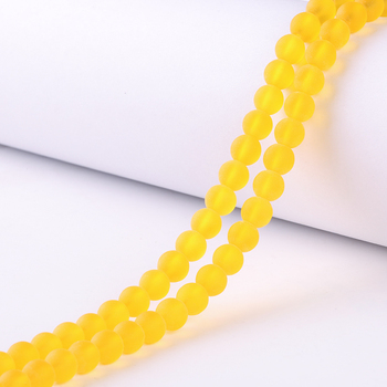 8mm Frosted Yellow round Matte Glass beads