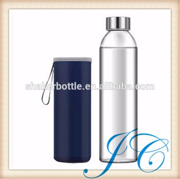 2016 most popular water glass/glass water bottle with the protective shell