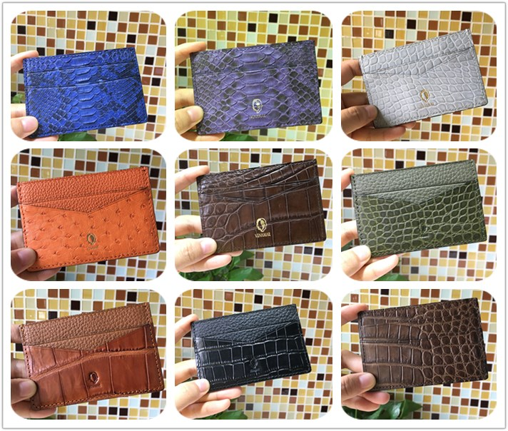 High quality genuine python leather credit card holder wallet for Christmas gift