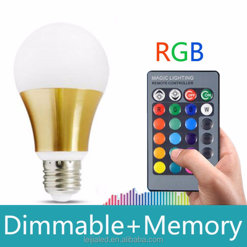 10W RGB LED Light Bulb Lamp E27 16 Colors Changing With 24 keys IR Remote controller Dimmable AC85-265v