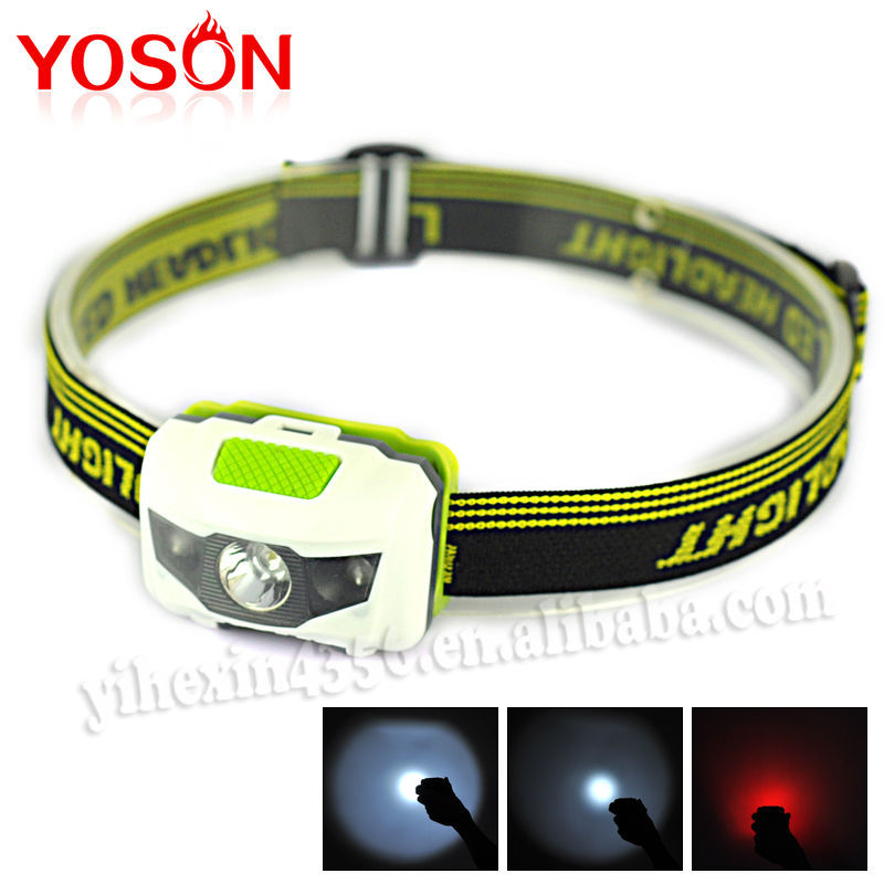 New White And Red Ligh Mini Headlamp ABS Head Light 4Modes 3Led Head Light