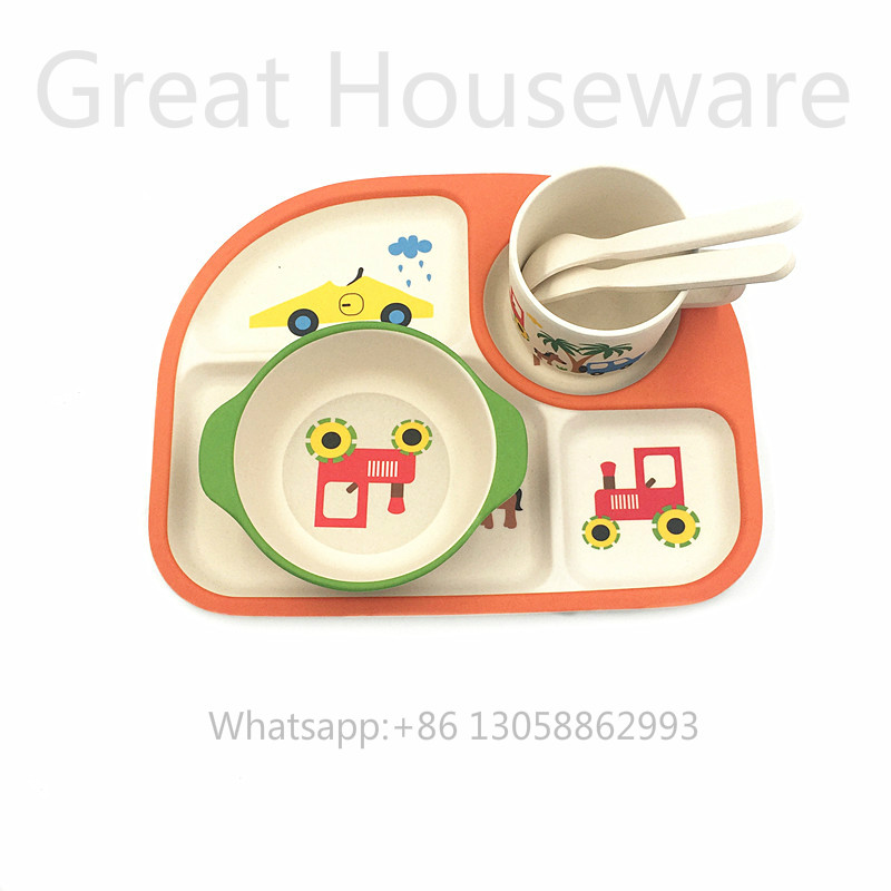 Biodegradable dinnerware for kids,bamboo dinnerware set,kids dinner plate