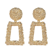 New Design Statement Textured Open Square Shape Alloy Drop <strong>Earrings</strong>