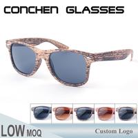 Wholesale custom plastic frame cheap promotional fake wood sunglasses
