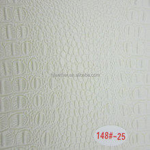 Little Glossy White Crocodile Grain Leather For Decorative