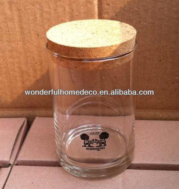 storage glass/glass storge jar with wooden lid/storage bottles